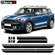 Car Styling Hood Bonnet Cover Decal Side Skirt Racing Stripes Rear Trunk Stickers for Mini Cooper Countryman f60 (without all4) car styling side racing stripes hood rear engine cover trunk vinyl decal sticker for bmw mini cooper countryman r60 2013 2016