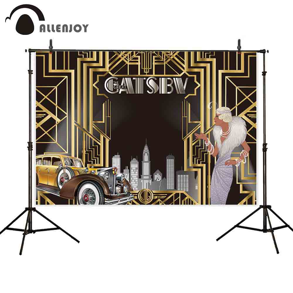 Image 2 - Allenjoy Great Gatsby Background Vintage Car Lady Happy Birthday Backdrop Photozone Golden Luxurious Adult Event Party BannerParty Backdrops   -