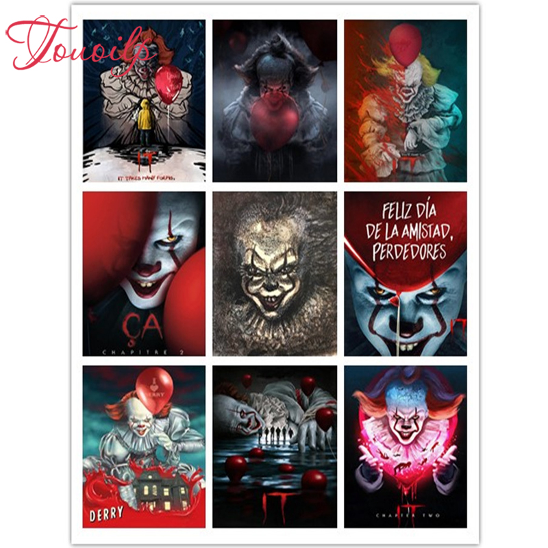 TOUOILP DIY Diamond Magical Full square&round 5d It: Chapter Two Diamond painting Cross stitch full clown DIY diamond embroidery
