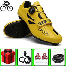 цена Self-Locking Men Cycling Shoes sapatilha ciclismo Professional Breathable Road Bike Bicycle Racing Athletic Sneakers Women онлайн в 2017 году