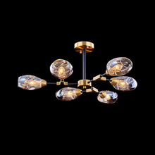 Nordic Iron Chandelier Lighting LED Glass Hanging Lights Modern Gold Lamp Bedroom Lustre Luminaria