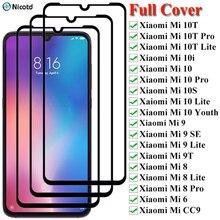 3Pcs מלא כיסוי מזג זכוכית עבור Xiaomi Mi 10 9 8 Pro Lite מלא דבק מסך מגן עבור Xiaomi mi 6 9SE 10T 10i 10S 10 נוער