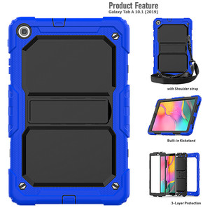 Image 3 - Case for Samsung Tab A 10.1 2019 SM T510 SM T515 T510 Heavy Duty Rugged Shockproof Cover tab A 10.1 2019 in Kickstand+Neck Strap