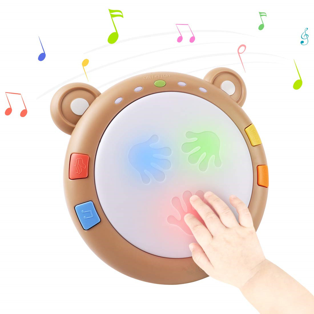 Baby Musical Electronic Toy With Lights & Sounds, Babies Light Up Drum Toys For Early Hand Development
