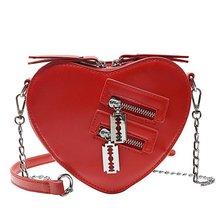 NEW fashion Women Handbag Fashion cute Heart Shaped Shoulder Bag Chain Leather
