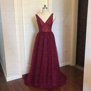 Image 5 - Kralen Prom Jurken 2020 Plus Size Roze Hoge Split Tulle Sweep Trein Mouwloze Avondjurk A lijn Lace Up Backless Vestido de