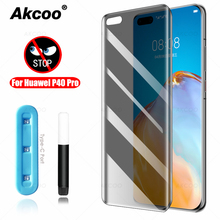Akcoo for Huawei P40 Pro Privacy Screen Protector UV Full Glue P40 Pro Tempered Glass film anti spy case friendly glass cover