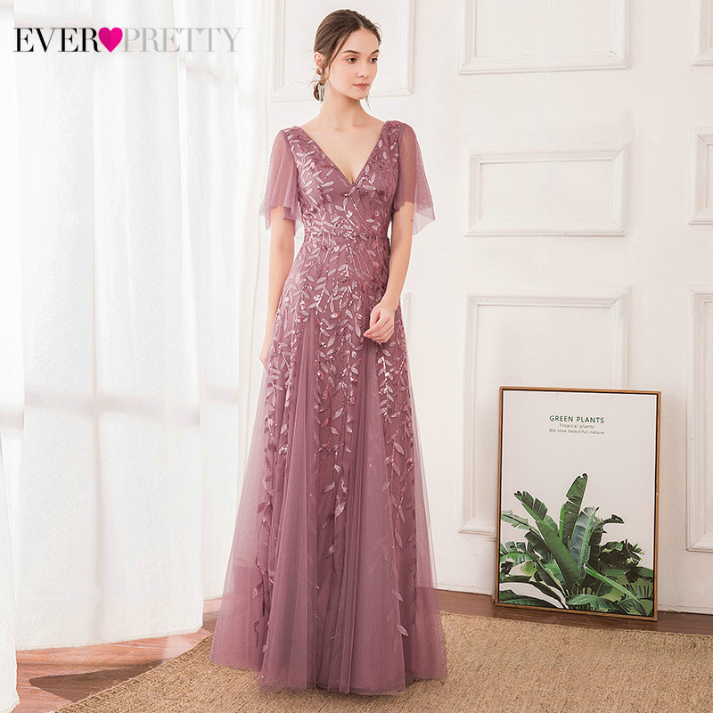 Elegant Dusty Pink Prom Dresses Ever Pretty Sequined A-Line V-Neck Short Ruffles Sleeve Sexy Long Party Gowns Vestido De Festa