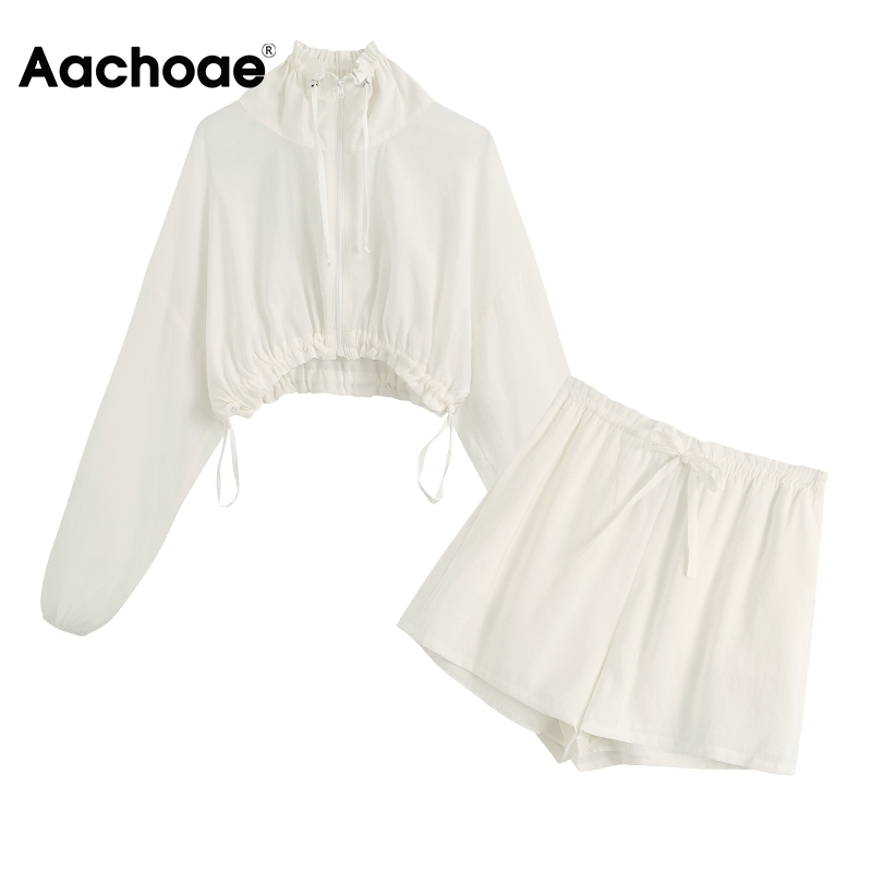 Aachoae Casual Solid Two Piece Set Women White Cropped Cardigan Blouse Top With Bow Tie High Waist Shorts Fashion 2 Piece Set