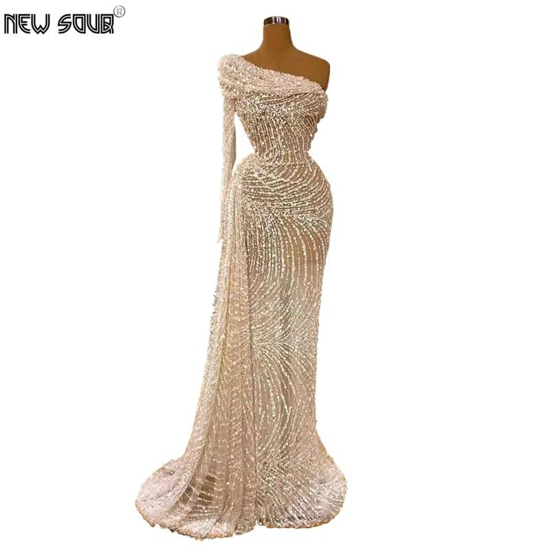 White Dubai Design One Shoulder Party Gown Evening Dresses 2020 Robe De Soiree Handmade Islamic Beading Sheer Prom Dress Arabic Evening Dresses Aliexpress
