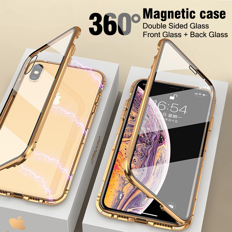 VZD <font><b>Magnetic</b></font> Adsorption Metal <font><b>Case</b></font> For <font><b>iphone</b></font> x xr xs max6 Plus Tempered Glass Back Magnet Cover For 7 <font><b>8</b></font> plus image