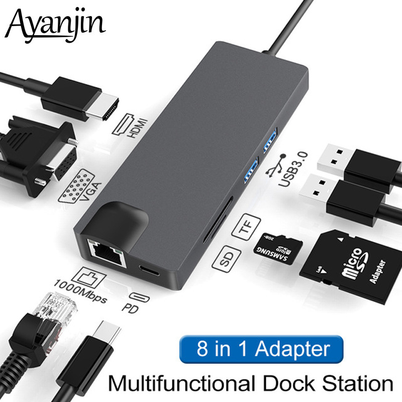 Type-C Hub <font><b>USB</b></font> to Ethernet Rj45 Hub Hdmi 4K <font><b>USB</b></font> Hub 3 <font><b>0</b></font> to VGA PD Charge For Mac book Pro / Macbook Air Accessories PC Hub <font><b>USB</b></font> 3 image