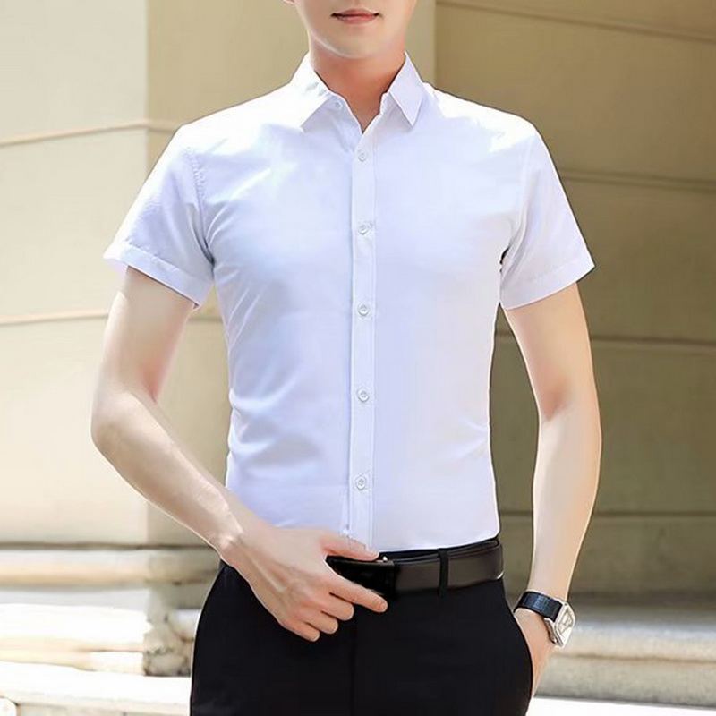 LASPERAL 2020 New Fashion Cotton Short Sleeve Shirt Comfortable Pure Cotton And Linen Casual Business White Black Dress Shirts