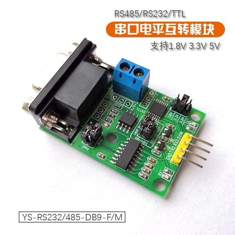 RS232/RS485/TTL Level Mutual Conversion Module DB9 Terminal 5V3.3V1.8V Three In One