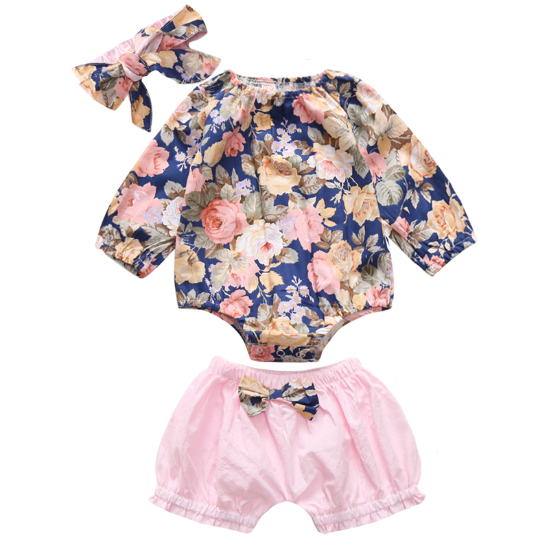 0 3T Newborn Baby Girl Clothes Long Sleeve Floral Romper Pink Bowknot Bloomer Headband 3pcs Baby Clothes Infant Clothing in Clothing Sets from Mother Kids