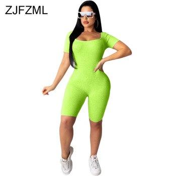 цена на Cross Backless Sexy Ribbed Slim Fit Jumpsuit Women High Waist Short Sleeve Midi Romper High Street Neon Green One Piece Overalls
