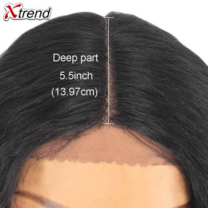 Image 4 - Xtrend Hair Synthetic Lace Front Wig Short Body Wave Middle Part Pelucas De Mujer Black Color 14 Inch Lace Wig