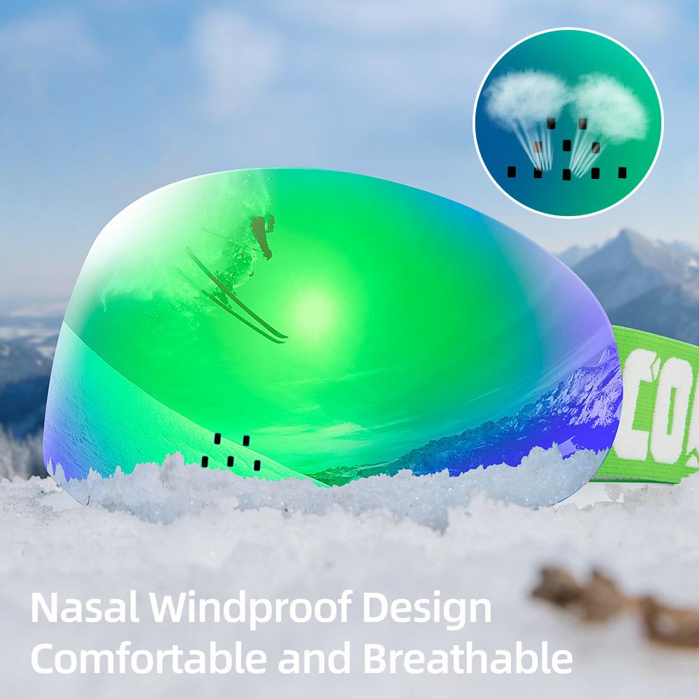 HD Version Magnetic Snow Ski Goggles with Nasal Windproof Double Layers UV400 Anti-fog Snowboard Ski Mask Glasses Men Women
