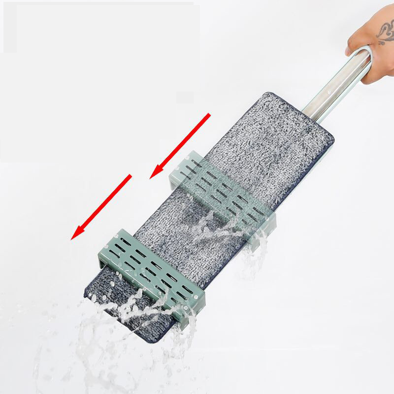 Reusable Spin Mop with Stainless Steel Handle and Microfiber Pad for Hand-Free Floor Cleaning