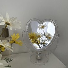 Cutelife INS Nordic Acrylic Heart Small Decorative Mirror Make-up Standing Desktop Mirror Dressing Glass Hanging Bedroom Mirror