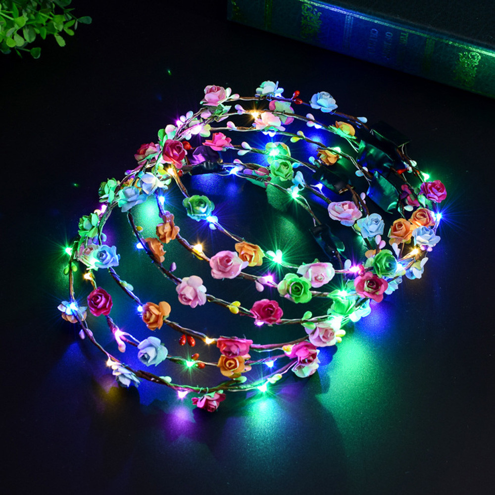 New Hair Wreath Head Band Wedding Party Crown Flower Headband LED Light Up Hair Wreath Garlands Women's Glowing Wreath 903