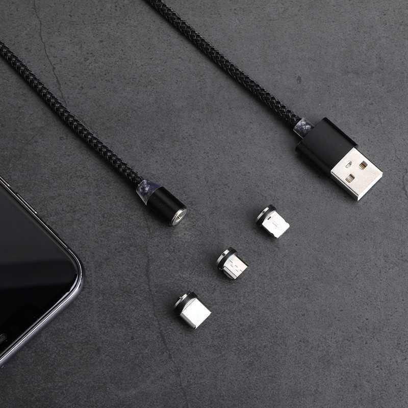 Magnetic Micro USB Kabel untuk Iphone Samsung Android Cepat Pengisian Magnet Charger USB Tipe C Kabel Ponsel Tali Kawat 1 M