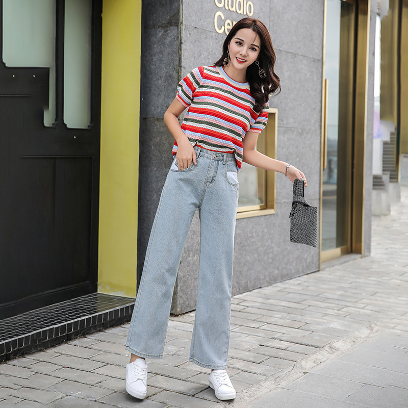 Photo Shoot Hyuna Celebrity Style Jeans Women's Summer High-waisted CEC Straight Wide-Leg Drape Loose-Fit Mopping Wind Dad Pants