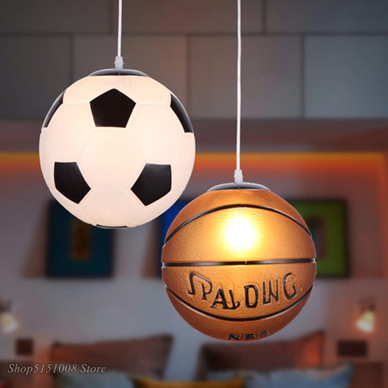 Football Glass Pendant Lights Basketball Pendant Lamp Kitchen Hanglamp Bedroom Restaurant Children Room Decor Light Fixtures