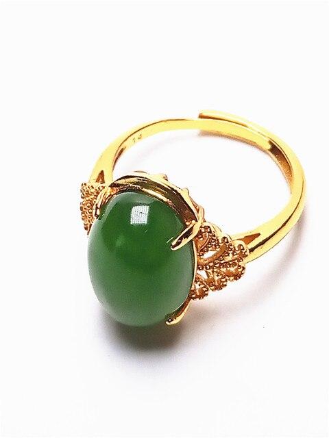 14K Gold Green Jade Bracelet and Ring 5