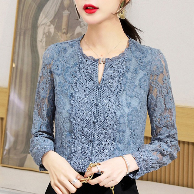 Autumn Fashion Vintage Blouse Women 2021 New Long Sleeve Floral Lace Womens Blouse Office Lady Casual Shirt For Women Tops 11303 2