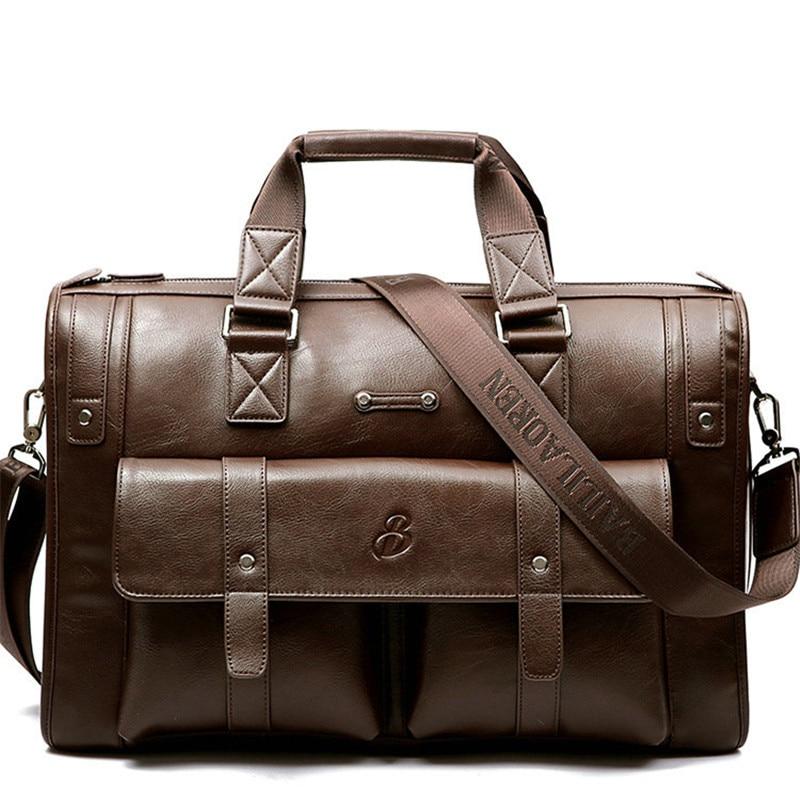 Men Thicken Leather Briefcase Large Capacity Laptop High Quality Travel Office Handbag Business Messenger Shoulder Bag
