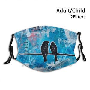 Lovers Print Reusable Mask Pm2.5 Filter Face Mask Kids Mixed Media Art Birds Love Blue