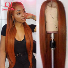 Queenlife Orange Lace Front Wigs 100% Human Hair 13x4 Front