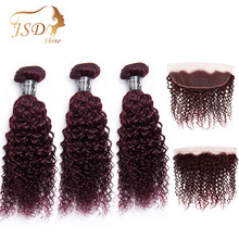 JSDShine 99j Brazilian Kinky Curly Bundles With Frontal Closure Non Remy Burgundy Human Hair Bundles With Frontal Closure(China)