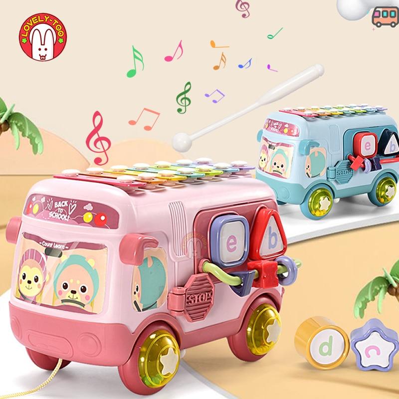 Instrumento musical do bebê chocalhos celulares brinquedos xilofone bater piano bus contas blocos montessori brinquedo educativo para crianças