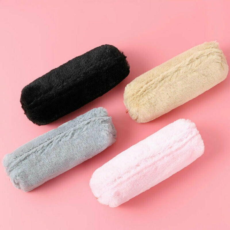 Fashion Girl's Cute Plush Fuzzy Fluffy Coin Purse Student Pencil Case Makeup Pouch Long Storage Bag Children Stationery Coin Bag