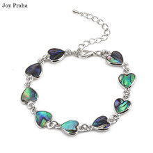 Natural hand shell bracelet / Colorful abalone shells heart-shaped love