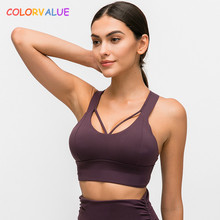 Colorvalue Naked-feel Fabric Fitness Sports Bras Top Women Vest-type Strappy Running Gym Sexy Push Up Yoga Sport Brassiere