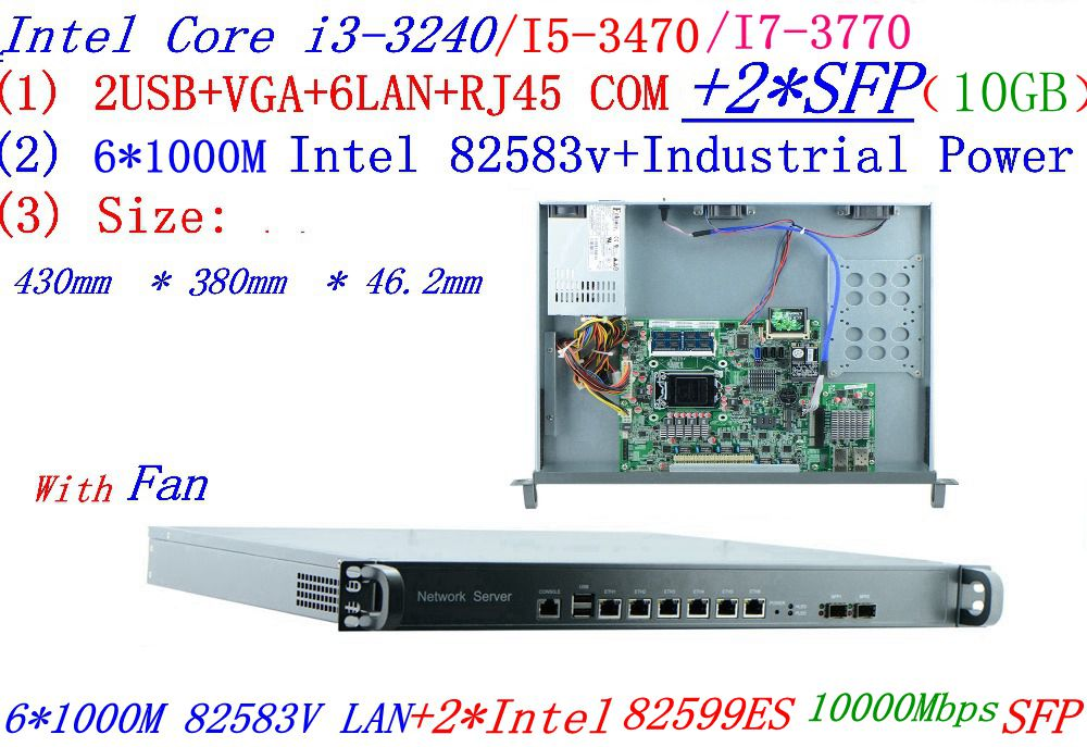 Intel Core I7 3770 3.4Ghz  6*1000M  Nics With 2 SFP 10GB Smart 1U 8 Ports Network Firewall Soft Routing