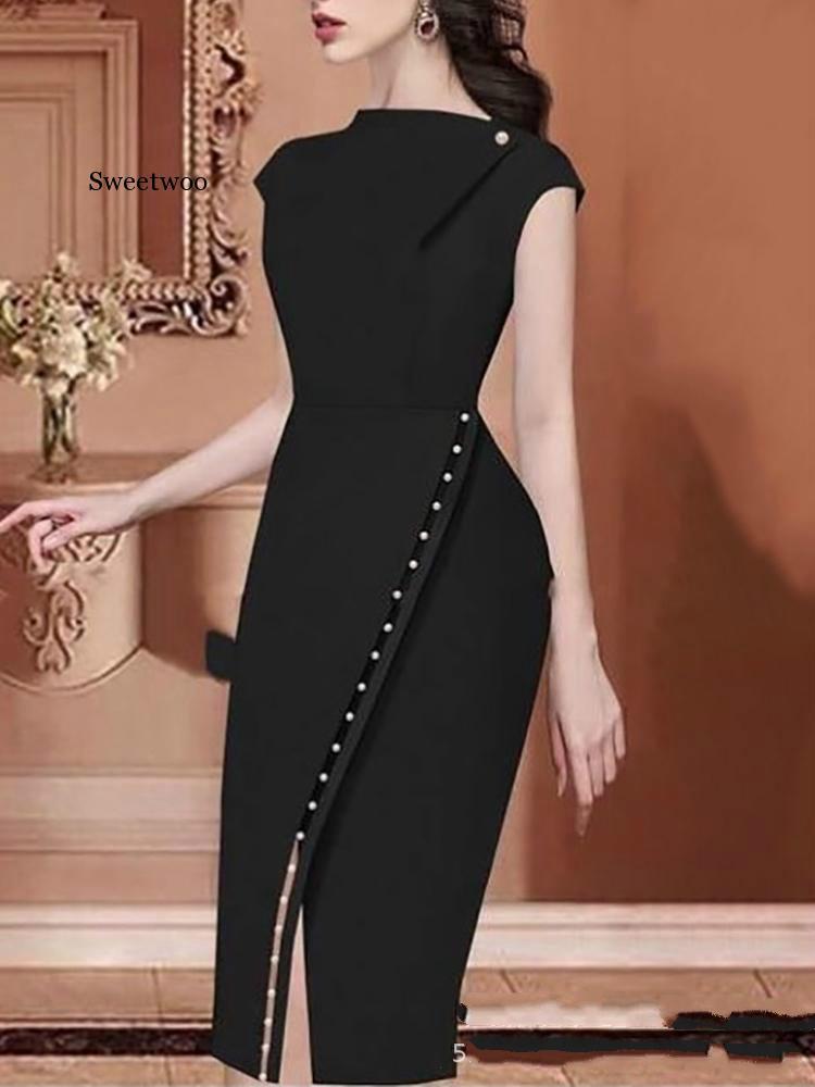 Женское элегантное платье на пуговицах украшенное бисером офисный