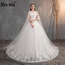 Mrs Win, китайское свадебное платье с длинным колпачком, кружевное свадебное платье с длинным шлейфом, вышивка, принцесса, плюс размер, свадебное платье