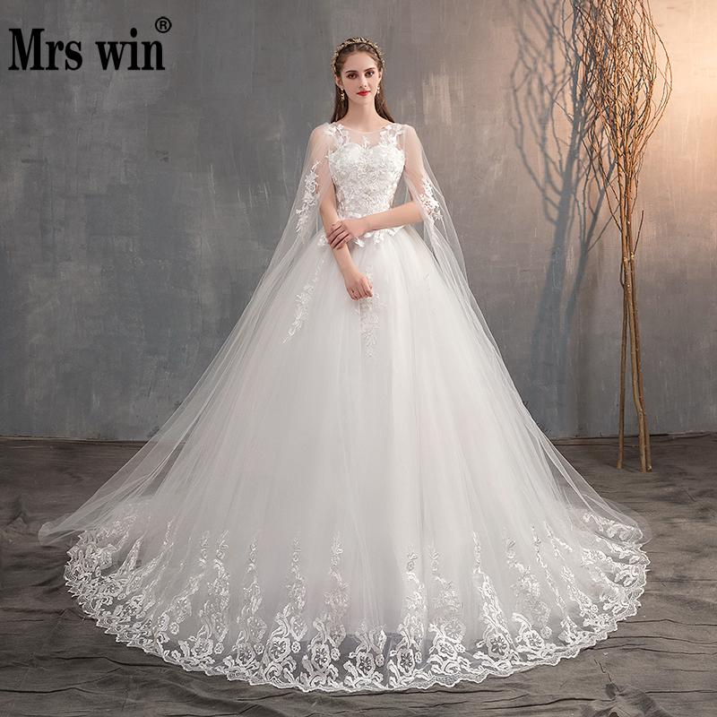 Mrs Win 2020 Chinese Wedding Dress With Long Cap Lace Wedding Gown With Long Train Embroidery Princess Plus Szie Bridal Dress(China)
