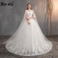 Mrs Win 2020 Chinese Wedding Dress With Long Cap Lace Wedding Gown With Long Train Embroidery Princess Plus Szie Bridal Dress