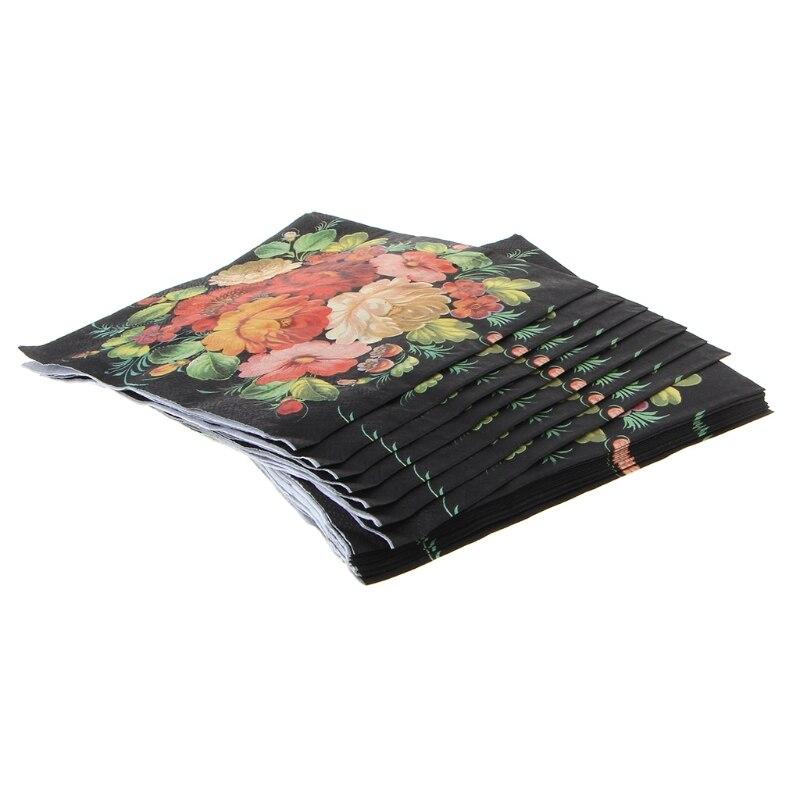 New High-grade Vintage Black Flower Paper Napkins Cafe&Party Tissue Napkins