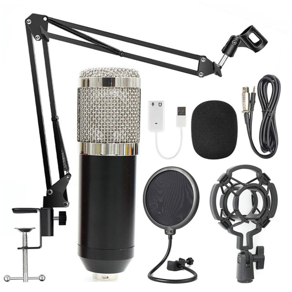 Professional Suspension Microphone Kit Studio Live Stream Broadcasting Foldable Mic Recording Condenser Microphone Set