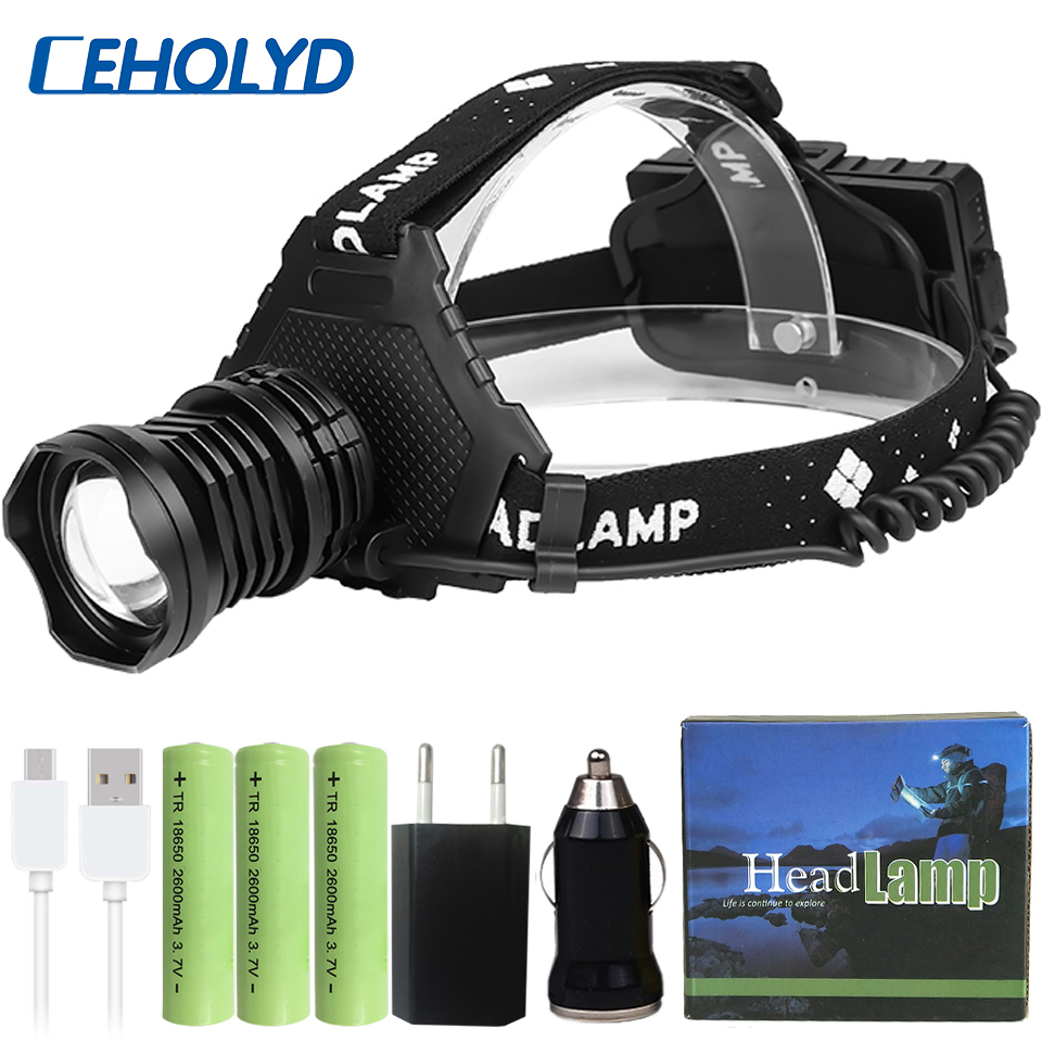 Z45XHP90 2 Most Powerful Led Headlamp Headlight Zoomable head Flashlight Lamp Powerbank 7800mah 18650 Battery Brighter xhp70