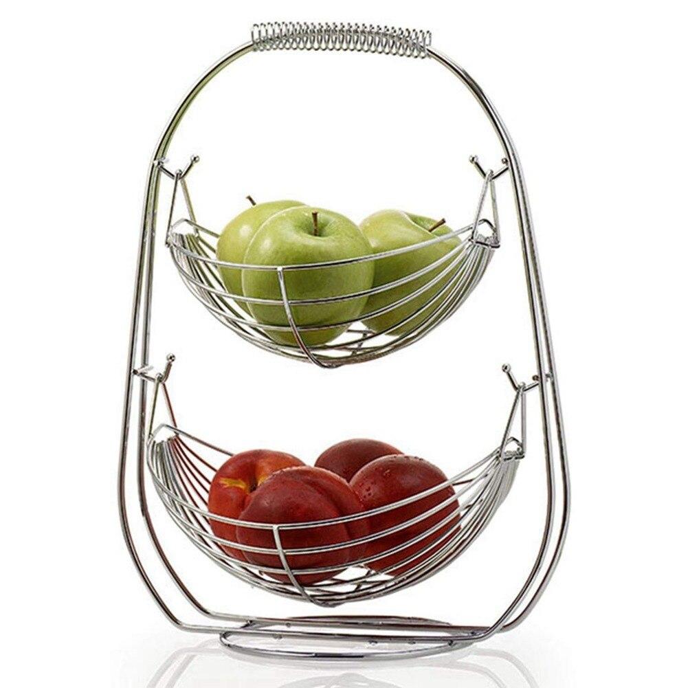 2 Tier Fruit Basket Bowl Holder Stand Kitchen Vegetables Storage Stainless Steel Household Kitchen Organizer Decor
