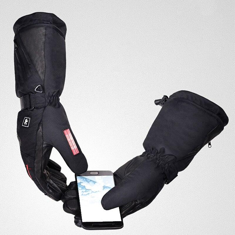 TWTOPSE cyclisme électrique chaud Sport gants avec batterie externe imperméable en peau de mouton vélo ski Snowboard randonnée hommes gants d'hiver - 3