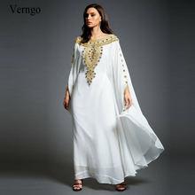 Женское вечернее платье Кафтан verngo белое золотого цвета с