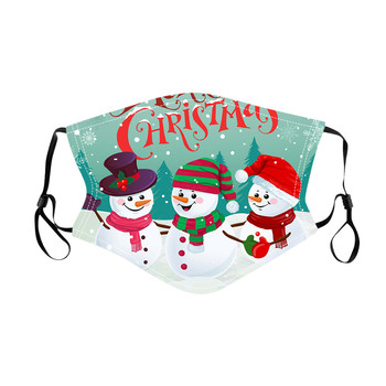 Christmas Mask Adult Cartoon Snowman Printing Mouth Face Mask Washable Reusable Cotton Fabric Masks masque en tissu lavable image